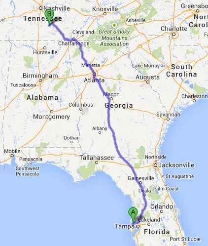 Driving Route from FL to TN